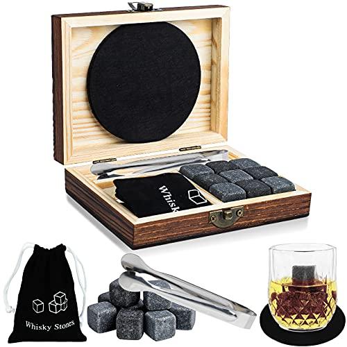 ProChosen Whisky Steine Set, 9 Eiswürfel wiederverwendbar aus Basalt mit Samtbeutel, hochwertiger Holzbox und Edelstahl Zange und 2 Untersetzer für Whiskey, Wodka, Gin & Mehr(Schwarz)