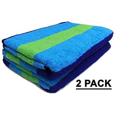 Cotton Craft Jacquard Double Woven Velour Beach Towel, 39 x 68-Inch, Cabana Stripe Navy Green Turquoise, 2 Pack