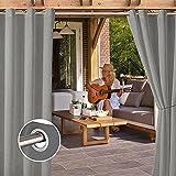 Outdoor Vorhänge Wasserabweisend Aussenvorhang , UV Schutz Outdoor Vorhang mit Ösen für Terrasse & Gartenlaube Ösenschal-grau_2_Stücke/_B213_X_H213cm