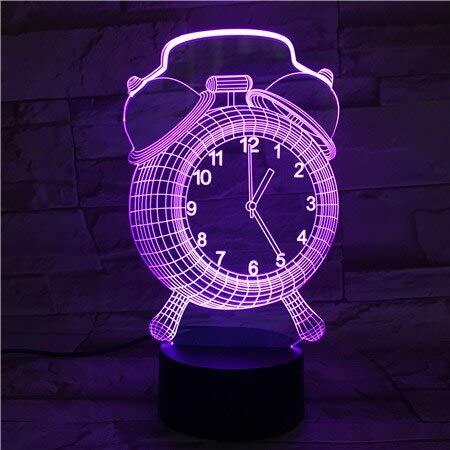 Lámpara 3D El reloj despertador Mejor regalo Navidad Niños cambio de color Lámpara de luz nocturna LED visual
