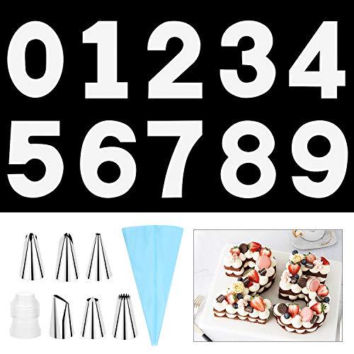 SelfTek 14 inch 0–9 große Zahlen-Kuchenformen, DIY Backen, Kuchen Schablonen, Vorlagen, Zahlen, Para, Pastell, mit 6 Zuckerguss-Spitzen, Zuckergussglätter und Gebäckbeutel für Hochzeit, Geburtstag