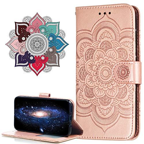 MRSTER Funda para Huawei Y5 2018, Estampado Mandala Libro de Cuero Billetera Carcasa, PU Leather Flip Folio Case Compatible con Huawei Y5 2018 / Honor 7S. LD Mandala Rose Gold