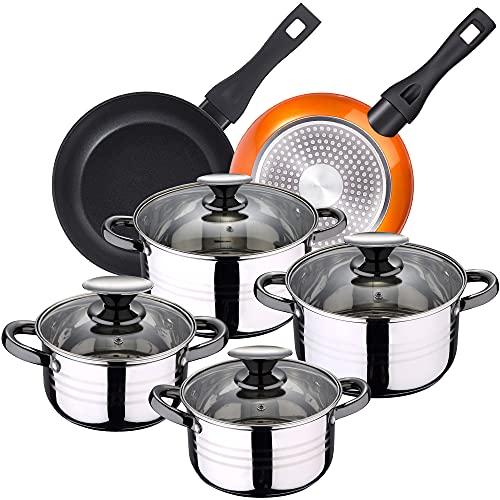 Bateria de cocina 8 piezas apta para induccion SAN IGNACIO Hita en acero inoxidable con juego de sartenes Neon (20,24 cm) en aluminio forjado aptas para induccion