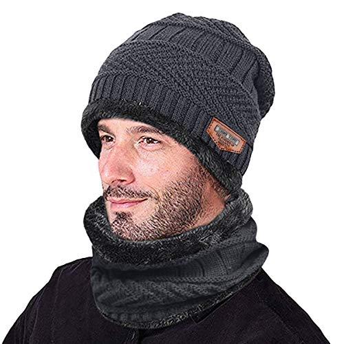 Kata Beanie Hat Thick Knit Hat Warm Fleece Lined Scarf Set Warm Thick Winter Hat For Men & Women (Grey)