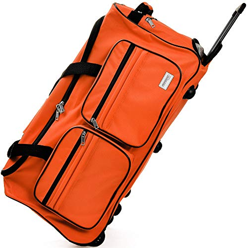 Travel Duffel Bag Colour and Size Choice 85 Liter Orange Wheeled Luggage Castors Gym Sport Camping Large Lightweight Telescopic Handle