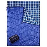 Double Sleeping Bag for Camping, ETGLCOZY 87'x63' Extra-Wide 2 Person Waterproof Sleeping Bag, 3-Season Warm and Comfortable for Adults Or Teens, with Carrying Bag(Blue)