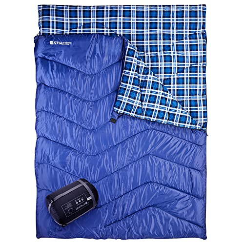 Double Sleeping Bag for Camping, ETGLCOZY 87 x63  Extra-Wide 2 Person Waterproof Sleeping Bag, 3-Season Warm and Comfortable for Adults Or Teens, with Carrying Bag(Blue)