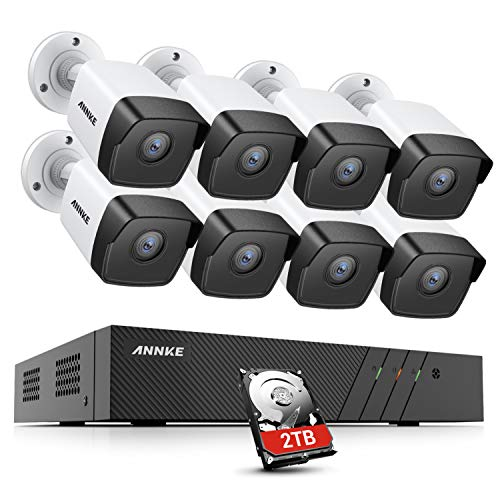 ANNKE H500 8CH 5MP Überwachungskamera Set mit 8X 5MP PoE IP67 wasserdichte Kamera und 2TB 8CH 6MP NVR, H.265 + Videokomprimierung, EXIR-LEDs, App-Push-Alarm, Fernzugriff