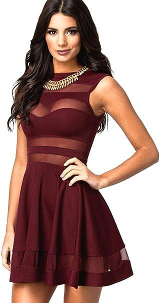 Damen Frauen Sexy Elegant Sommerkleid A Linie Kleid Kurze Kleider Abendkleid Partykleid Cocktailkleid Amazon De Bekleidung