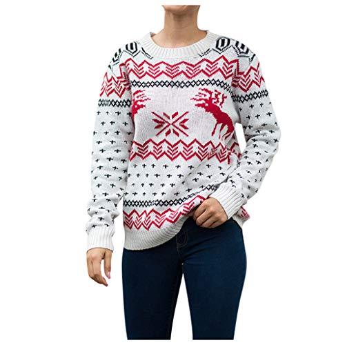 Vrouwen Jumpers Kerst Rendier Kerstboom Lange Lange O-hals Chunky Gebreide trui Jumpers Knitwear Top