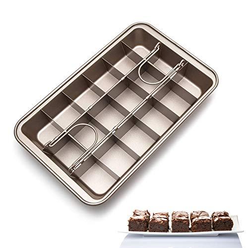 Brownie Backform mit Trennwänden, Kuchenform mit Antihaftbeschichtung, Brownieform Kuchenblech eckig