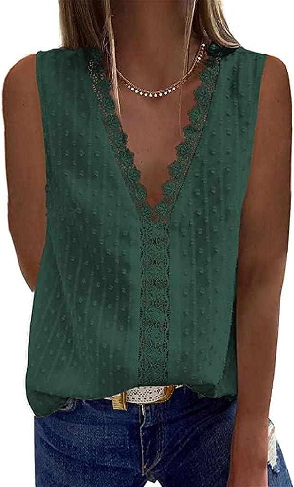 BeneGreat Women's Lace Short Sleeve Vintage Elegant Tunic Swiss Dots Pom Pom V Neck Blouse Shirt Tops