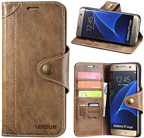 LENSUN Echtleder Handyhülle für Samsung Galaxy S7 Edge, Hülle Echtes Leder Lederhülle Wallet Hülle Handytasche Schutzhülle - Kaffeebraun