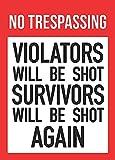 No Trespassing Violators Will Be Shot Survivors Will Be Shot Again Sign - 2nd Amendment Gun Right Signs - Aluminum Met