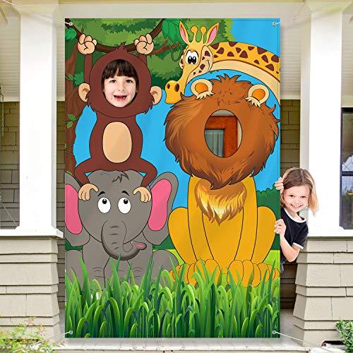 Blulu Decoraciones de Animales de Selva Accesorios de Fiesta de Cumpleaños, Foto Props de Tela Extra Grande Materiales de Juego de Animales de Selva Divertidos, 59 x 39,4 Pulgadas