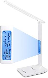 ERAY Lampe de Table LED Dimmable, 3 Modes/ 5 Niveaux de luminosité/Affichage LCD/Réveil/Température et Calendrier/Support ...
