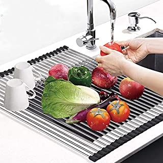 """Techsea Roll Up Dish Drying Rack, 18.5"""" x 13.39"""" Large Multipurpose Over The Sink Dish Drying Rack, Heat Resistant Stainle..."""