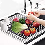 """Techsea Roll Up Dish Drying Rack, 18.5"""" x 13.39"""" Large Multipurpose Over The Sink Dish Drying Rack, Heat Resistant Stainless Steel Kitchen Sink Drying Rack (Black)"""