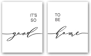 Unframed It's So Good & to Be Home Quote Art Print Warm Family Painting,Set of 2(8''x10'') Canvas Inspirational Typography Picture Poster for Living Room Bedroom Home Decor