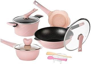 HIZLJJ Kitchen Cookware Set,4-Piece, Pots and Pans, Hard-Anodized Non-Stick Aluminum (Color : Pink)