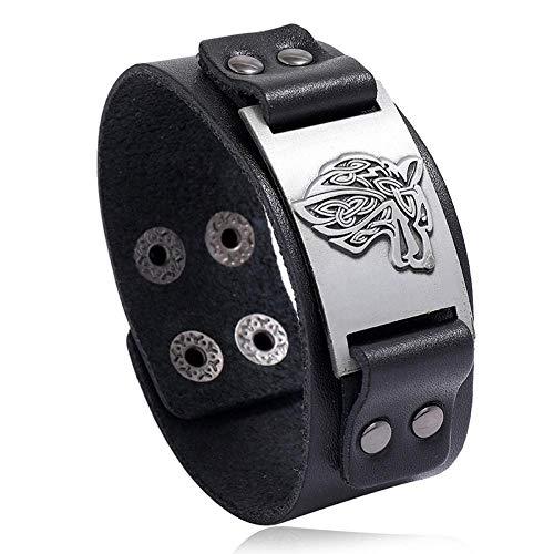 Tótem de runas nórdicas, Pulsera vikinga con Hacha, Pulsera Ancha de Cuero nórdico, Pulsera de Hombre nórdico 4