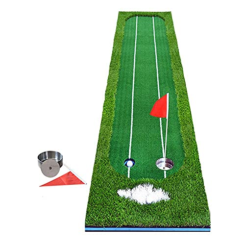 WBJLG Golf Putter Exercise Device, Double Sight line Assisted Putter Goal Hole, Indoor Office Living Room Green Practice Blanket, Foldable and Portable
