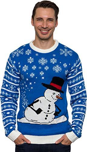 Funziez! Ugly Christmas Suéter con capucha de dinosaurio, manga larga, disfraz novedoso, Muñeco de nieve Blue Fart, Large