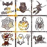 9 Stück Halloween Party Schablonen-Set aus Kunststoff