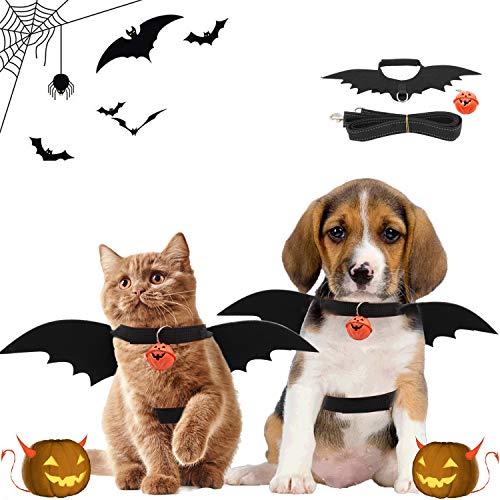 Halloween-Fledermauskostüm, Katzenfledermauskostüm mit 1,2 m reflektierendem Kordelzug, Fledermausflügel mit Kürbisglocke, Halloween-Kostüm, geeignet für Kätzchen, Welpen oder kleine Hunde