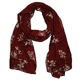 MANUMAR Schal für Damen in weinrot mit gesticktem Blumen Motiv als perfektes Herbst Winter AccessoireStick
