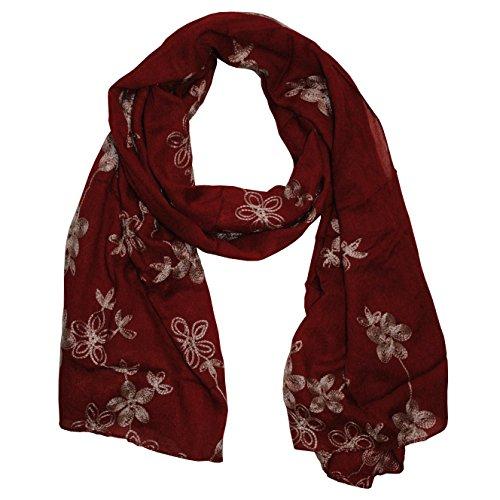 MANUMAR Schal für Damen | feines Hals-Tuch in weinrot mit gesticktem Blumen Motiv als perfektes Herbst Winter Accessoire | Stick | Damen-Schal | Stola | Mode-Schal | Ideales Geschenk für Frauen