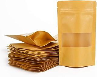 ARTESTAR 100 Stück Sac Papier Kraft avec Fenetre,Sachet Kraft Alimentaire,Pochette Kraft, Réutilisables Et Hermétiques Sac...