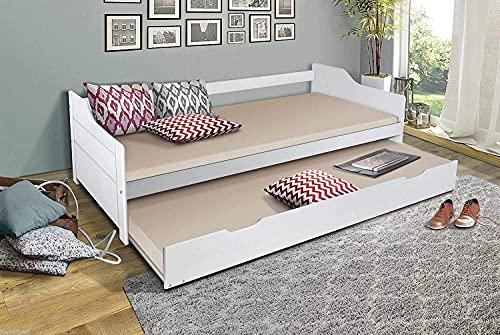 HOMELINE 90x200 Massiv Holz Weiss Ausziehbar Bild