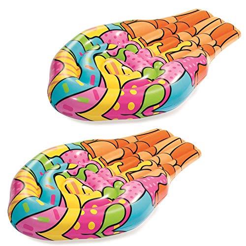 WB Pack de 2 colchones inflables multicolor Pop Ice Cream Cono Piscina Tumbona Lilo Air Colchón Playa Juguete Flotador