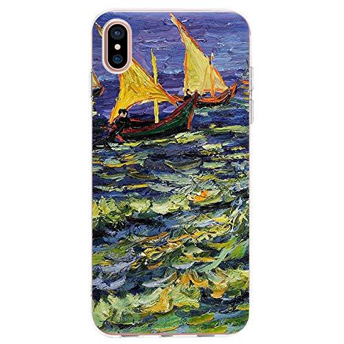 WQDWF Funda de teléfono para iPhone 11 11Pro XSMax X XR XS 7 8 6s Plus SE 5 5S Van Gogh Starry Night Funda de Silicona Suave TPU, 4, para iPhone 8Plus