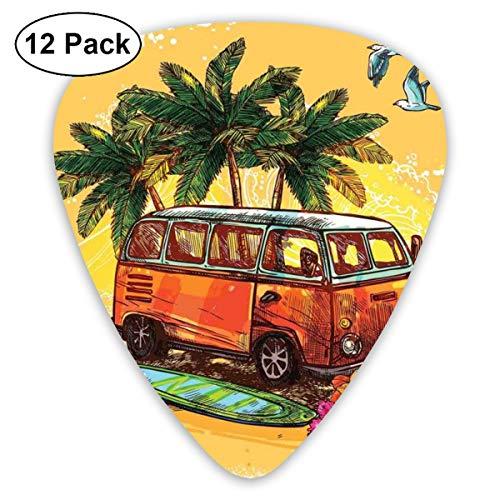 Gitaar Picks12 stks Plectrum (0.46mm-0.96mm), Hippie Classic Oude Bus Met Surfboard Vrijheid Vakantie Exotische Leven Schetterende Kunst, Voor Uw Gitaar of Ukulele