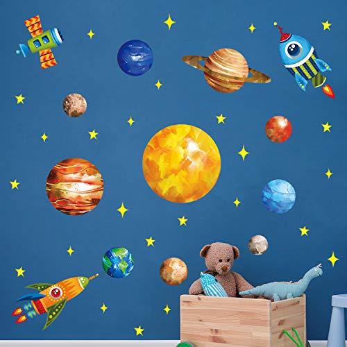 decalmile Pegatinas de Pared Espacio Planetas Cohetes Vinilos Decorativos Sistema Solar Espacio Estrellas Adhesivos Pared Habitación Infantiles Niños Bebés Dormitorio