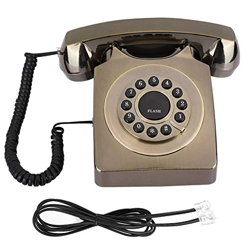 Pusokei Teléfono Fijo Retro, Teléfono Fijo Multifuncional Chapado en Bronce Teléfono Antiguo con Cable Teléfono Fijo Antiguo(Bronce)