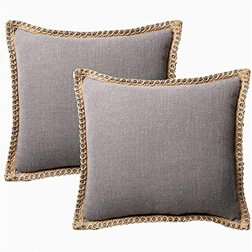 HUASHUZI Cushions Cover Set Of 2, Weave Cotton Linen Square 9 Colors 18x18 Inch (45cm X 45cm) Throw Pillow Covers Pillowcase For Sofa Couch Decorative Home Car Office Waist Cushion Grey