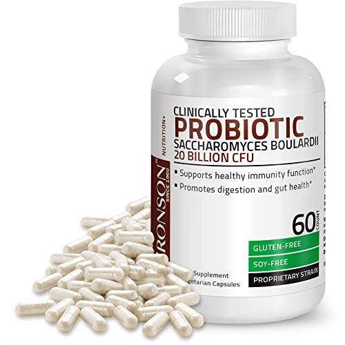 Saccharomyces Boulardii Probiotic 20 Billion CFU Clinically Tested Proprietary Strain, 60 Vegetarian Capsules