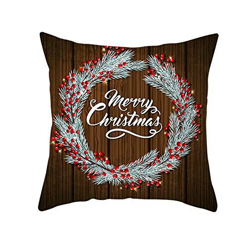 Ukilook Funda de cojín cuadrada de poliéster con diseño de ramas de pino con texto 'Merry Christmas and Happy New Year', color marrón plateado