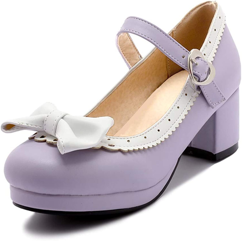 BestLifes Thick High Heel shoes Women Patchwork Bowknot Heart Buckle Heels Pumps Ladies Office