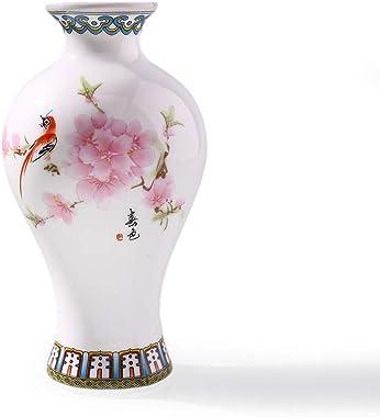 WINON Jarrones Decorativos Florero de cerámica de Porcelana Blanca Azul China Tradicional Florero de Mesa de Planta clásica V