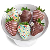 Six spring decorated real dark, milk and white chocolate covered strawberries for Easter, Mothers Day and Springtime giving. Each berry is delicately hand dipped and decorated in REAL chocolate in our own kitchen for both culinary artistry and exquis...