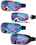 TURNMEON 4 Pack Ski Snowboard Goggles Anti Fog Glare Adjustable Strap Snow Goggles for Men Women Kids Youth Winter Outdoor Sport Skiing, Snowboarding, Skating, Motorcycling