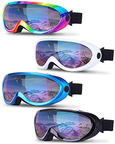 TURNMEON 4 Pack Ski Snowboard Goggles Anti Fog Glare Adjustable Strap...