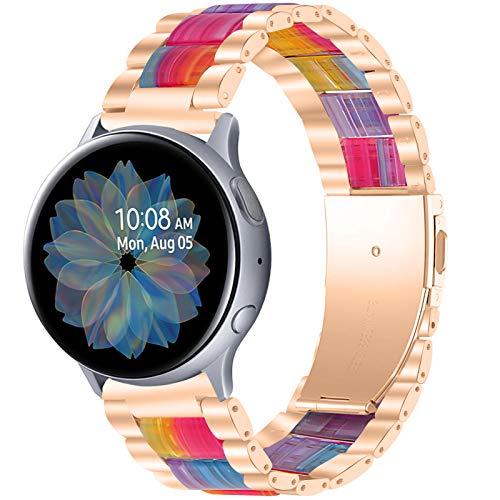 TWBOCV Gear S2 Classic Bands, 20mm Resina y Acero Inoxidable Pulsera de Repuesto Pulsera Correa de Metal Accesorios para Samsung Galaxy Watch 3 41mm/ Active 2 40mm 44mm/ Active/Watch 42mm (E07)