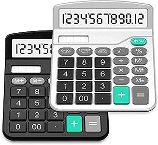 Calculadora,Splaks 2 Pack Calculadora de Escritorio estándar Funcional Sola y AA Batería Dual Power Calculadora Electrónica con 12 dígitos Pantalla Grande (1 Negro + 1 plata)