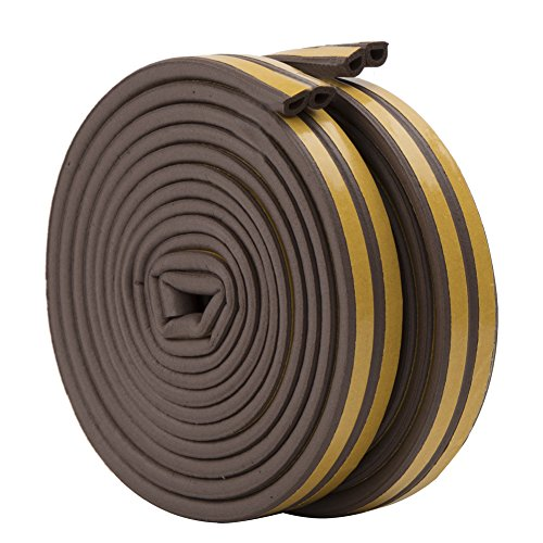 Rubber Seal Weather Strip Foam Tape, Feelava D Type 10 m Doors Windows Draught Excluder Seal Strips Anti-Collision Self-Adhesive Weatherstrip Water-proofing Sound-proofing - 2 Roll Total 10m (Brown)