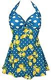 COCOSHIP Baleine Blue & White Polka Orange Yellow Lemon Splice Sailor Swimsuit One Piece Skirtini Cover Up Bathing Swimdress XXXL(US16)